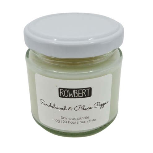 Sandalwood & Black Pepper Soy Wax Candle - from Rowbert