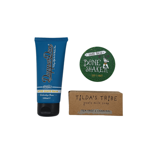 After shave balm, hand balm and goats milk soap