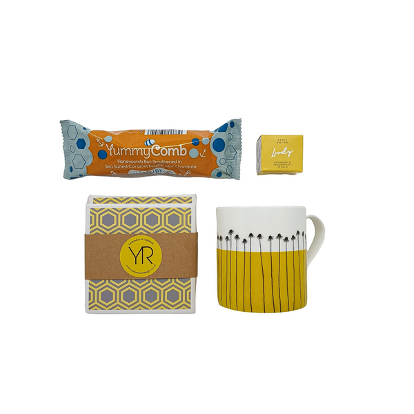 Chocolate honeycomb, lip balm, ceramic coasters and an illustrated china mug.