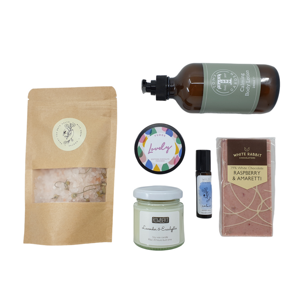Himalayan bath salts, calming body lotion, chocolate face mask, lavender pulse point oil, raspberry and amaretti chocolate, lavender and eucalyptus soy wax candle.