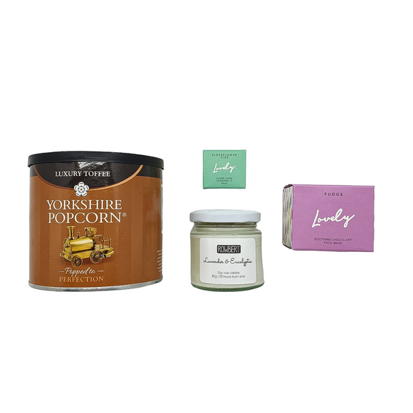 Luxury popcorn, elderflower lip balm, lavender soy wax candle and chocolate face mask.