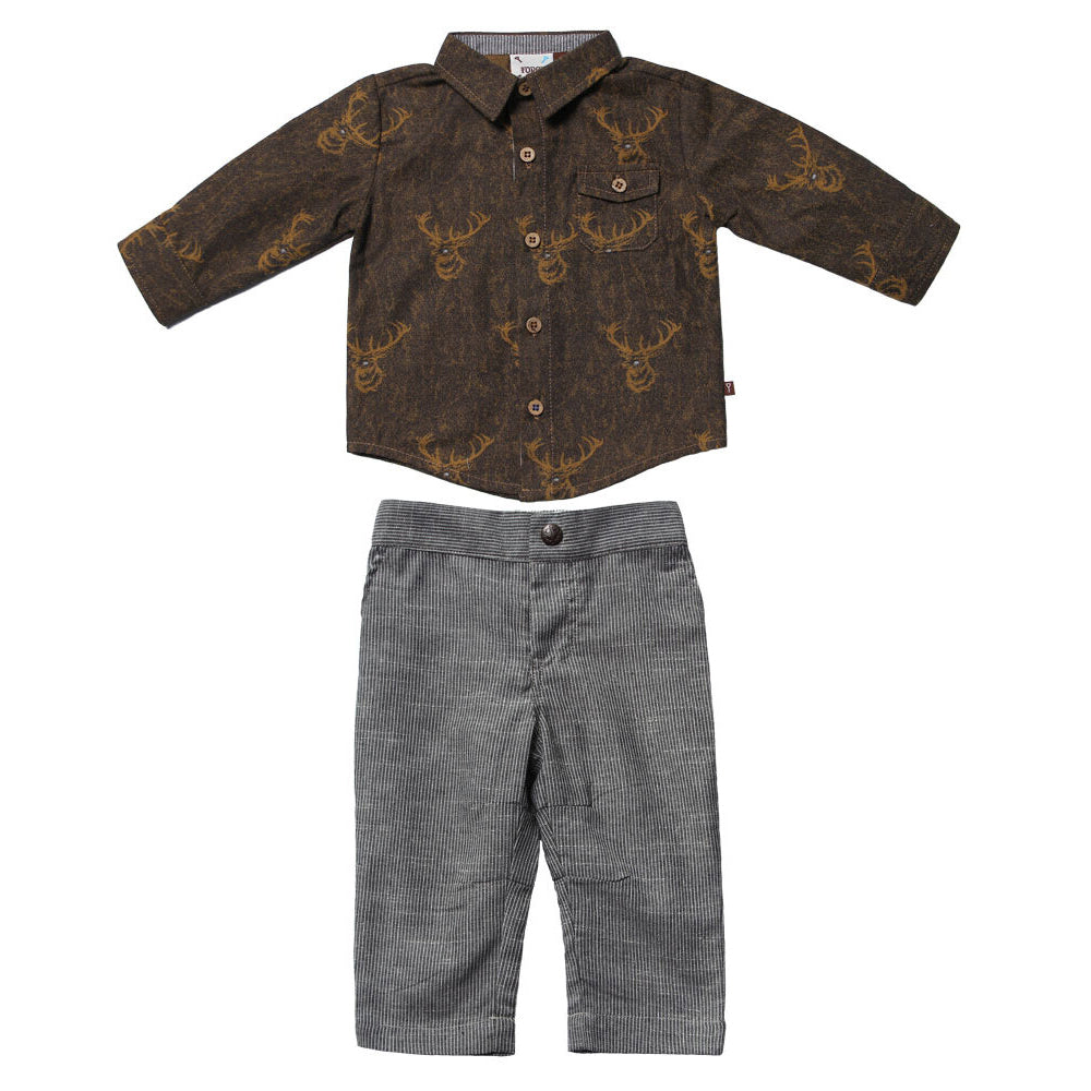 Elk Lodge Printed Shirt with Pinstripe Trousers for Baby Boys