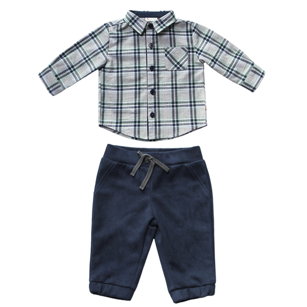 Mathlete Plaid Shirt and Suede Jogger Set for Baby Boys