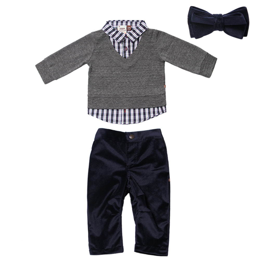 Charcoal 2fer Sweater and Navy Suede Pant Set for Baby Boys