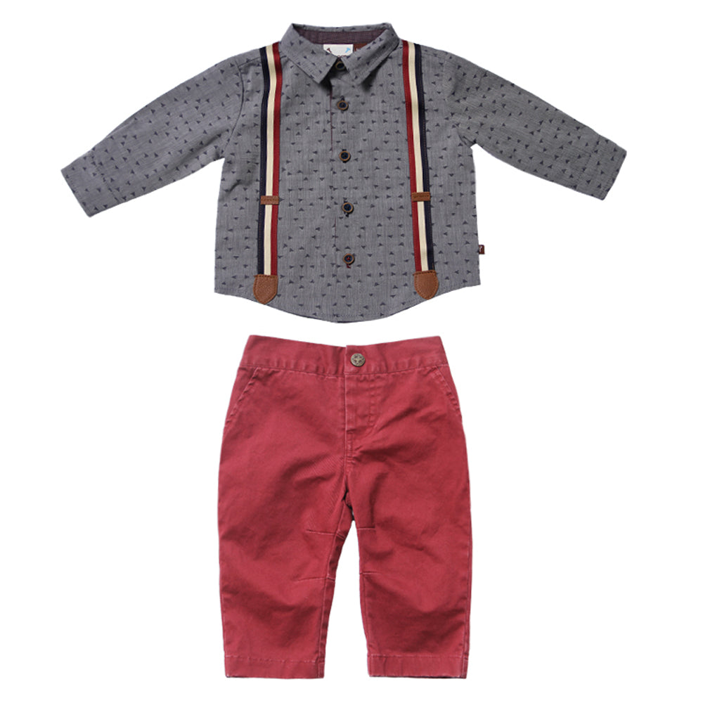 Confetti Suspender Shirt with Crimson Twill Pant Set for Baby Boys
