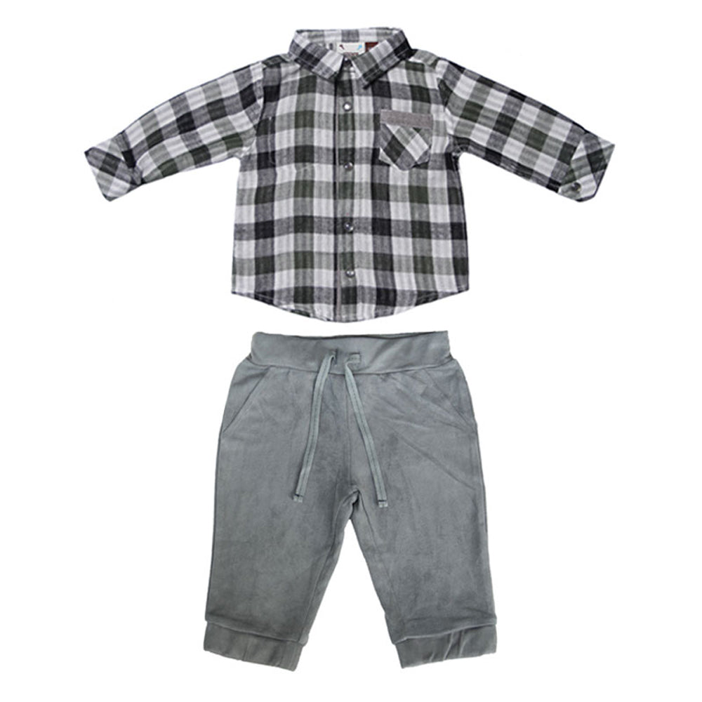 Forest Green Plaid and Grey Suede Jogger Set for Baby Boys