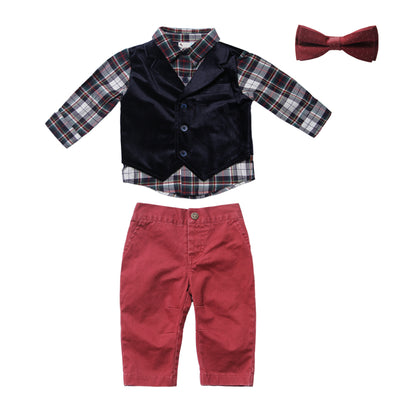 Navy Suede Vest and Pant Set with Bowtie for Baby Boys