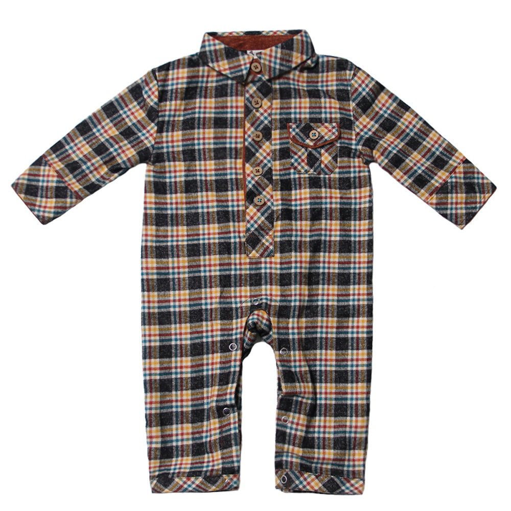Craftsman Plaid Flannel Romper for Baby Boys