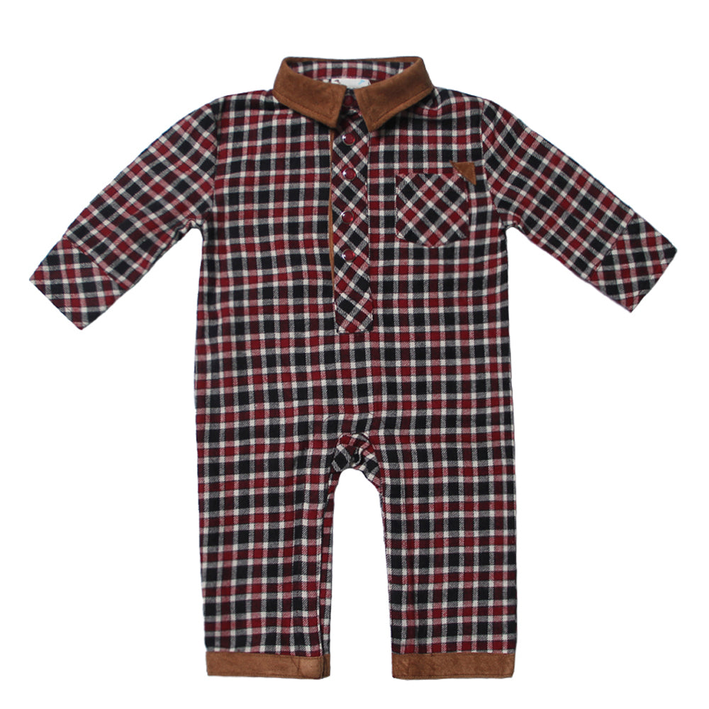Study Hall Plaid Flannel Romper for Baby Boys