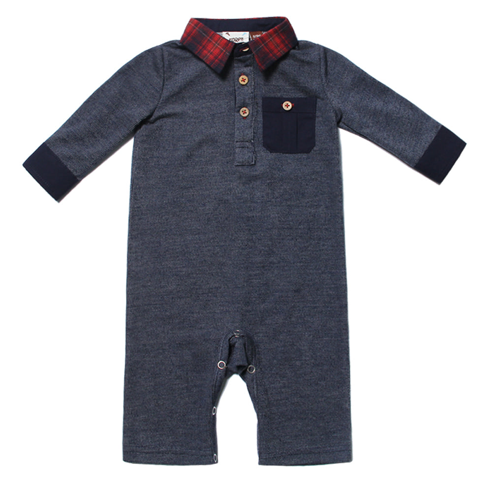 Navy Collared Long Sleeve Romper for Baby Boys