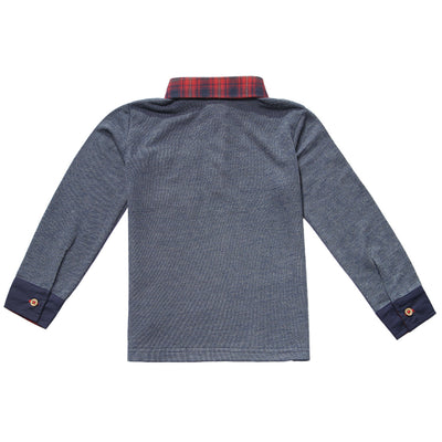 Navy Collared Long Sleeve French Terry Polo for Boys