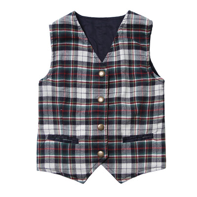 The Homecoming Reversible Vest in Navy and Plaid for Boys