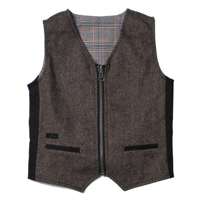 Nailhead Tweed and Plaid Reversible Vest for Boys