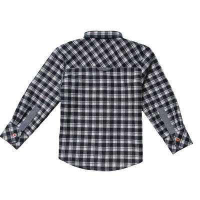 Mixed Check Flannel Roll-Up Sleeve Shirt for Boys