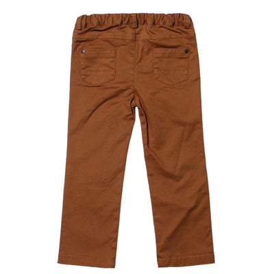 Brown Brushed Stretched Twill Pant for Boys