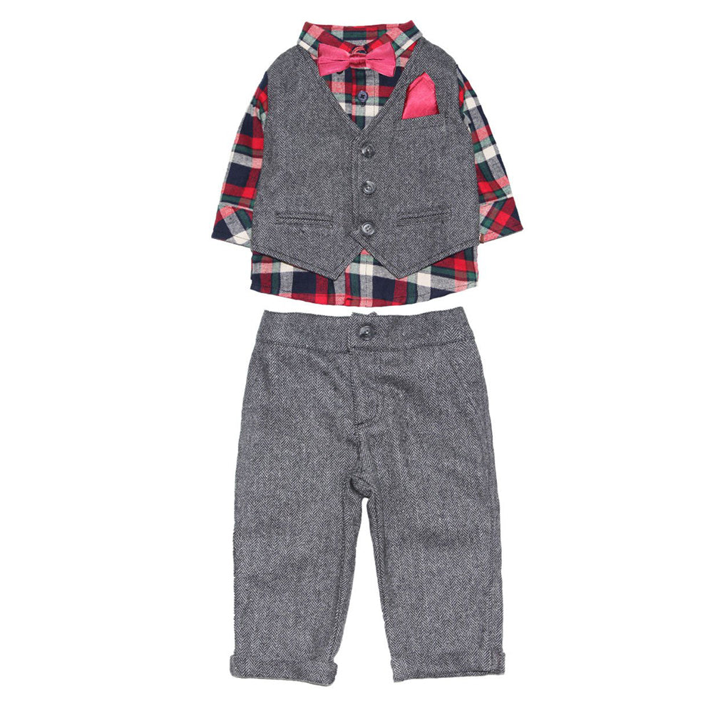 Holiday Plaid Shirt and Herringbone Vest and Pant Set with Bowtie