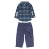 Plaid Flannel Shirt and Navy Twill Trousers for Baby Boys