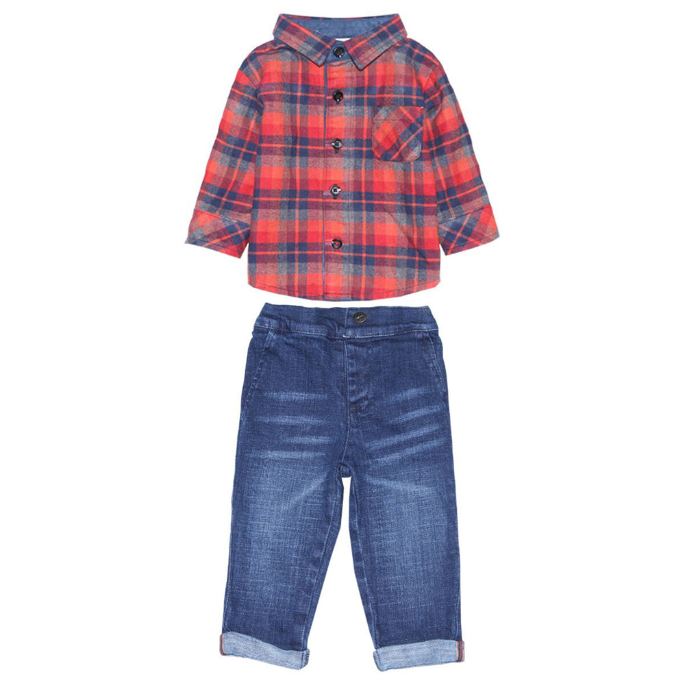 Plaid Flannel Shirt and Vintage Denim Jeans for Baby Boys