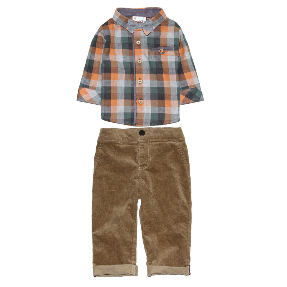 Pumpkin Spice Shirt and Corduroy Pant Set with Bowtie