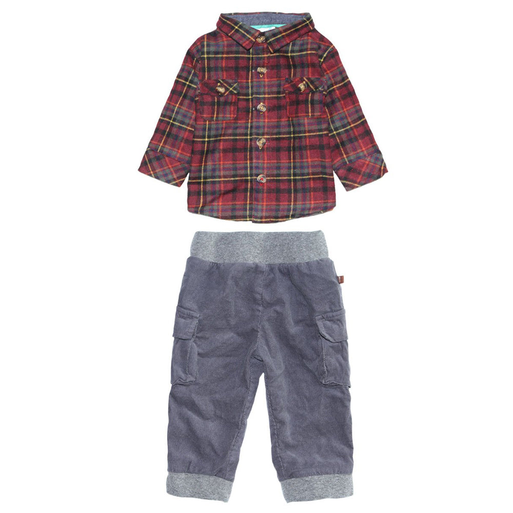 Log Cabin Plaid Flannel Shirt and Corduroy Cargo Jogger Pants for Baby Boys