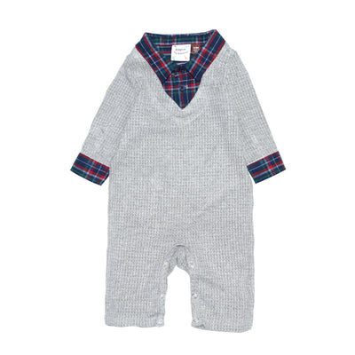 Waffle Knit Sweater and Plaid Shirt 2fer Romper for Baby Boys