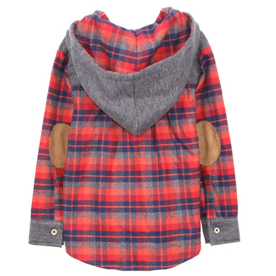 French Terry and Flannel Plaid Hoodie for Boys