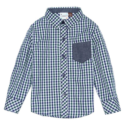 Navy and Green Gingham Shirt for Boys