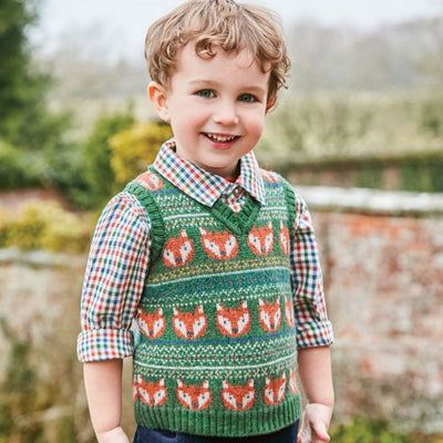 Forest Green Fox Fair Isle Sweater Vest