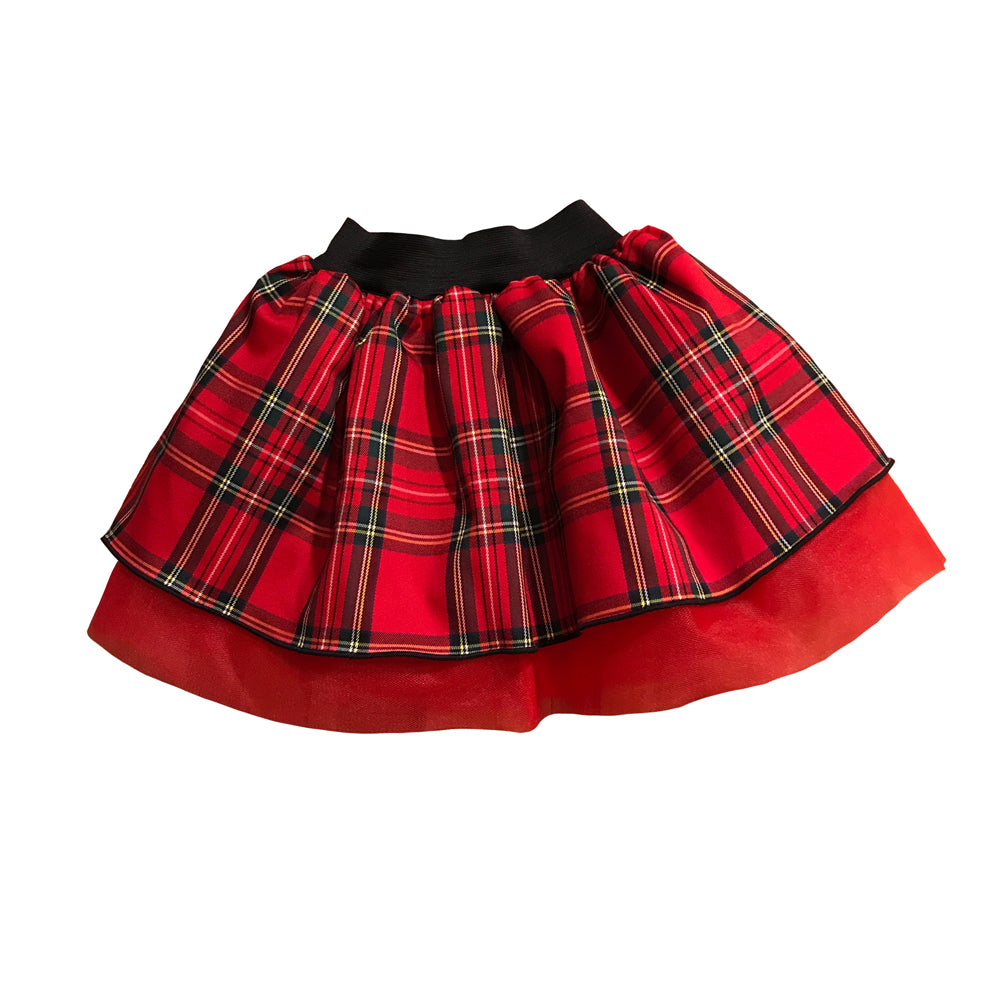 Miss Luciana Poufy Plaid Tutu Skirt with Red Tulle