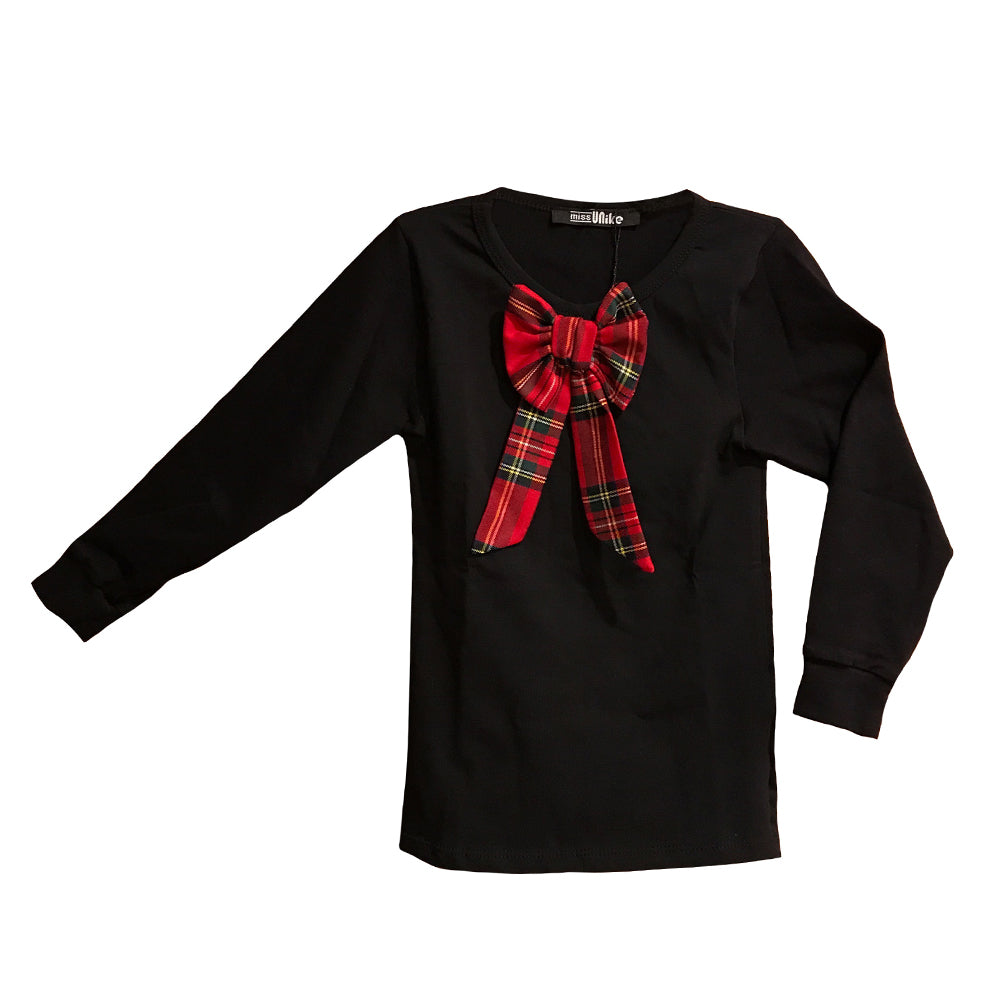 Miss Anna Plaid Bow Accented Long Sleeve Top