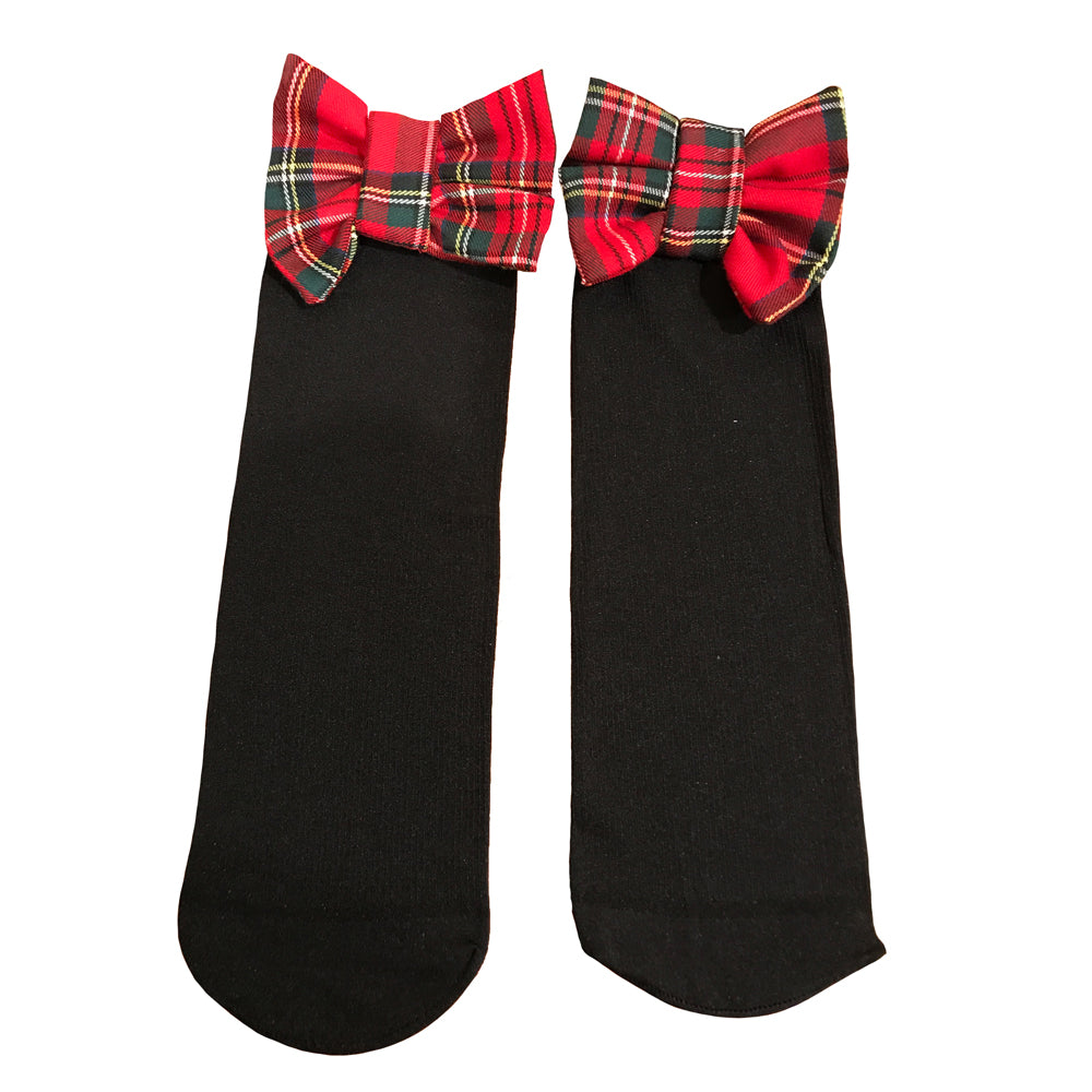 Miss Anna Plaid Bow Accented Knee Socks