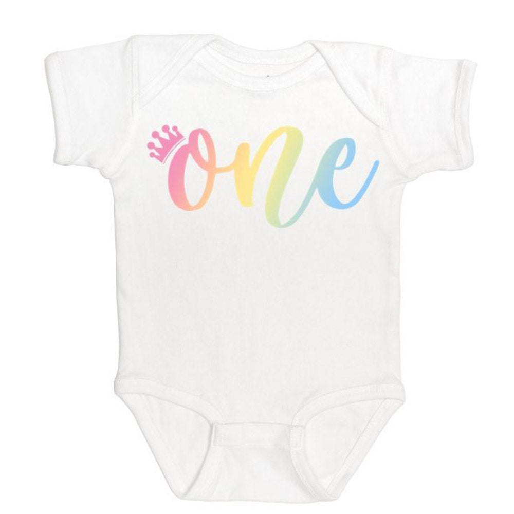 Rainbow One White Short Sleeve Body Suit