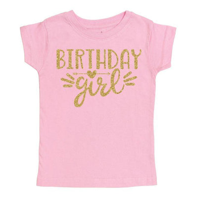 Birthday Girl Pink and Gold Short Sleeve Shirt