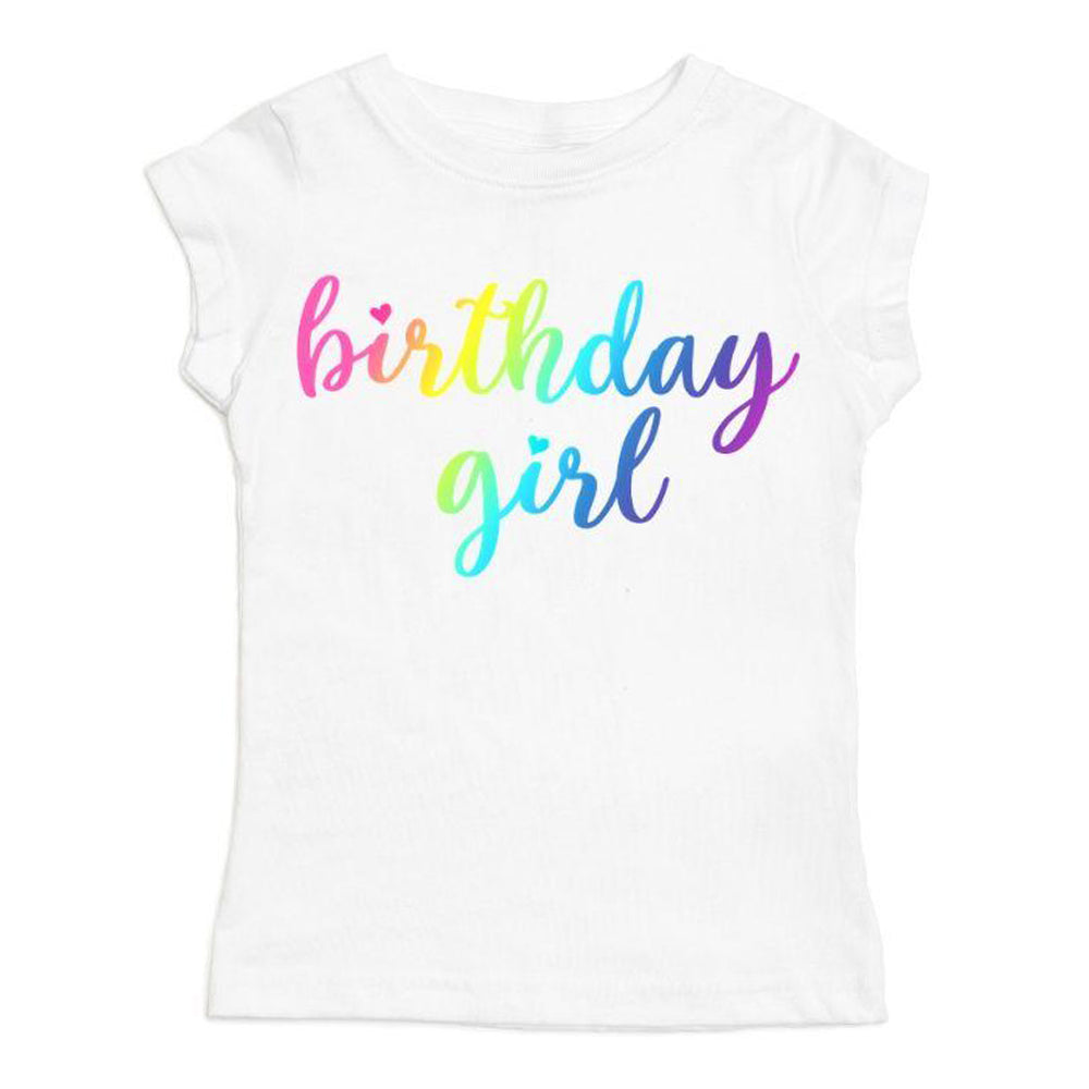 Magical Rainbow Birthday Girl White Short Sleeve Shirt