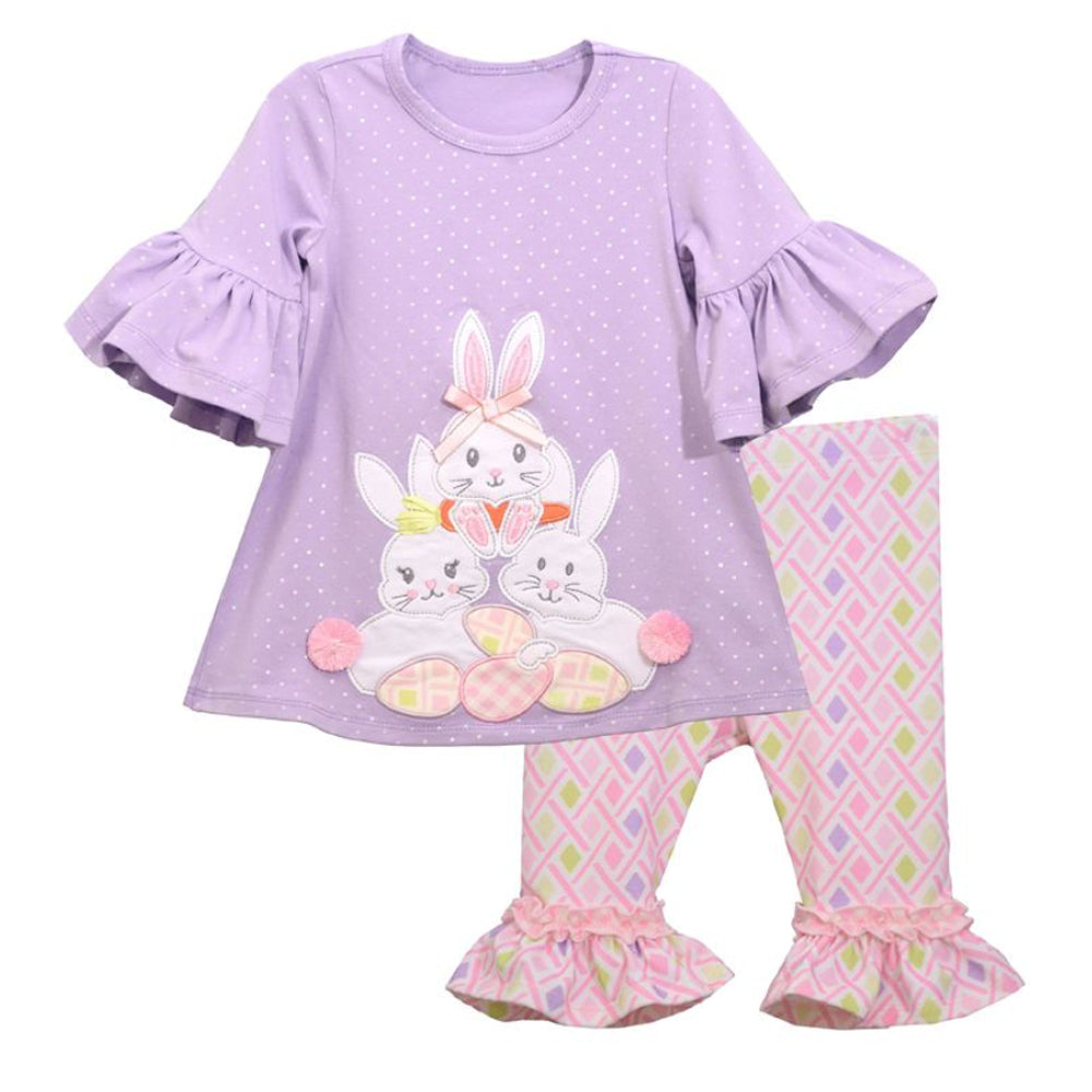 Bunny Applique Lavender Top and Legging Set
