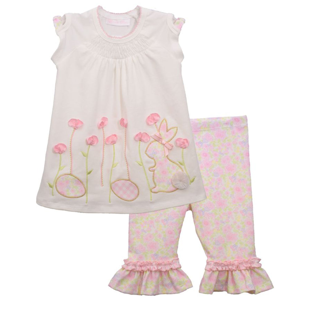 Baby Girls Bunny Garden Top and Floral Print Leggings Set