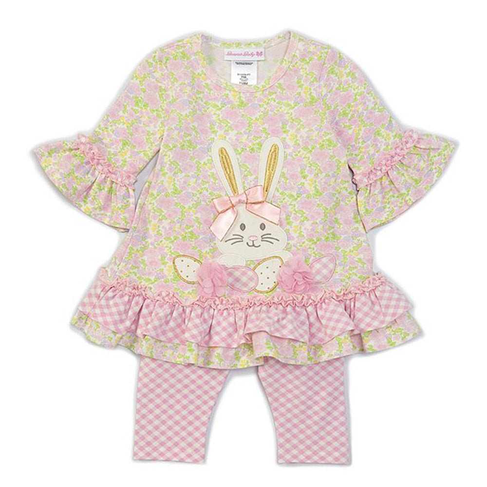 Bunny Applique Floral Top and Gingham Legging Set