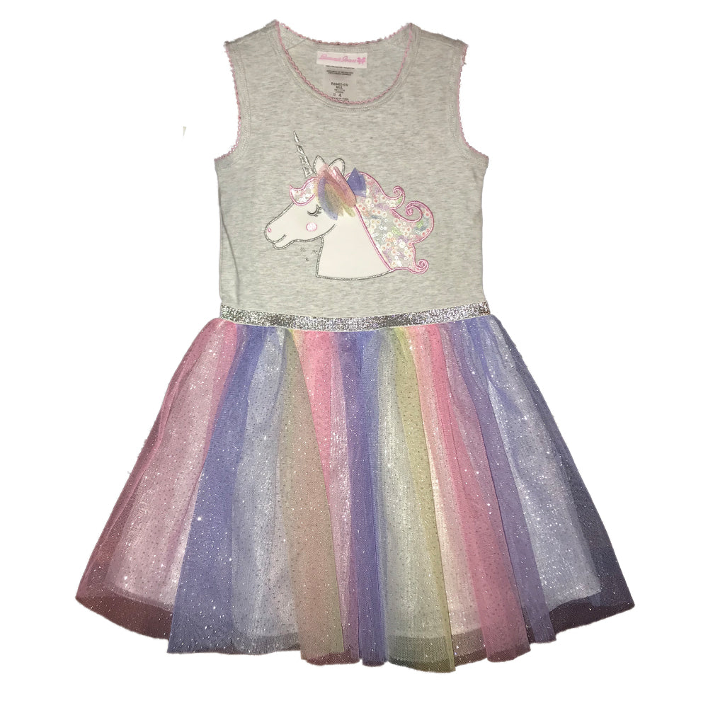 Unicorn Applique Rainbow Tutu Dress