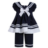 Girls Navy Sailor Pant Set