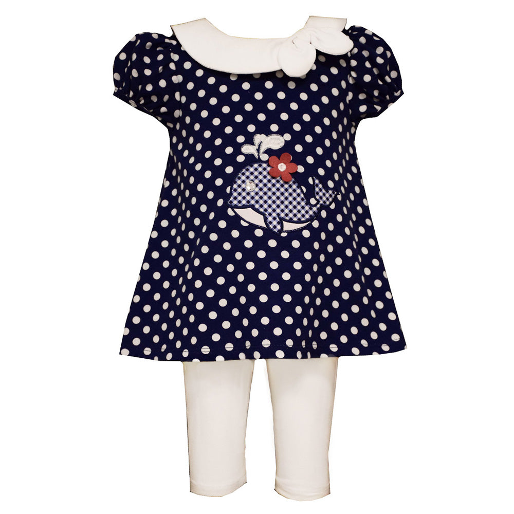 Navy Whale Dress and Legging Set