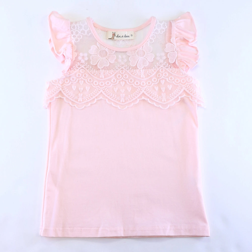 Pink Floral Lace Mesh Insert Flutter Sleeve Top
