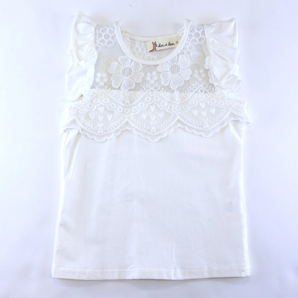 White Floral Lace Mesh Insert Flutter Sleeve Top
