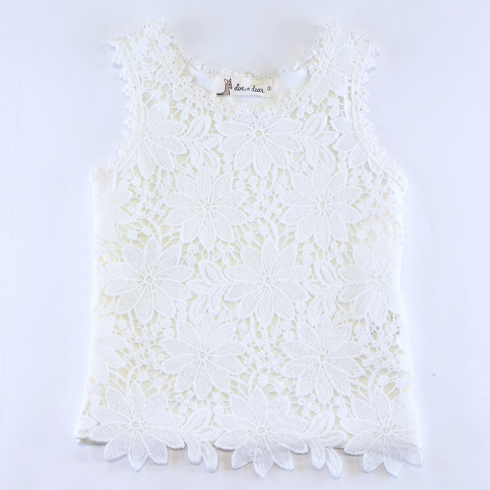 White Ribbed Back Floral Lace Sleeveless Top