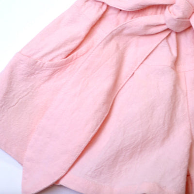 Pink Tie Front Flare Shorts