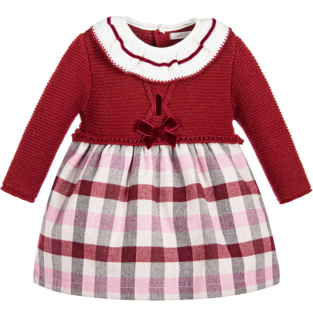 Baby Girls Red Knit and Plaid Dress