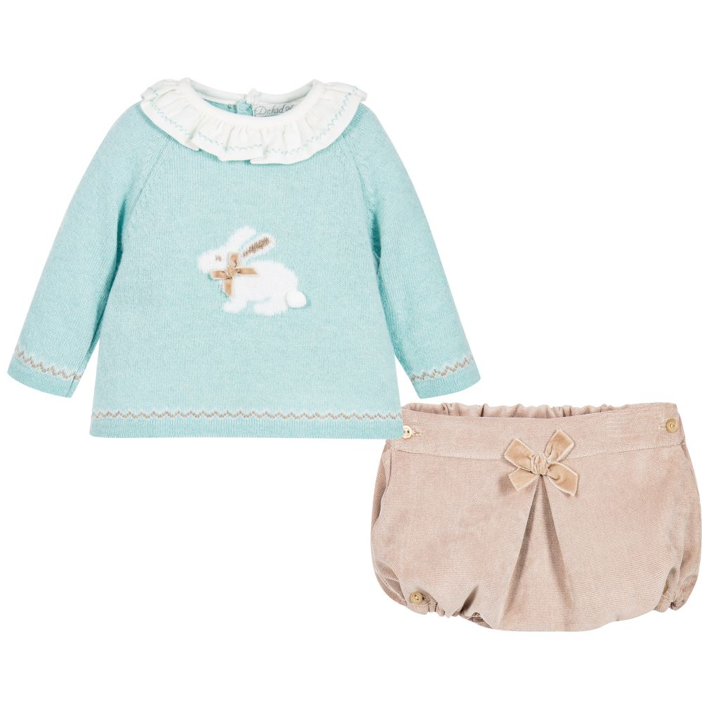 Baby Girls Knit Bunny Sweater and Bloomer Set