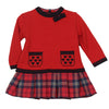 Red Hearts Knit and Plaid Dress