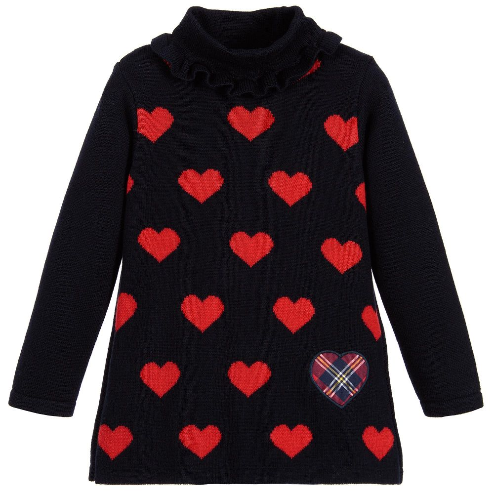 Girls Roll Neck Heart Sweater