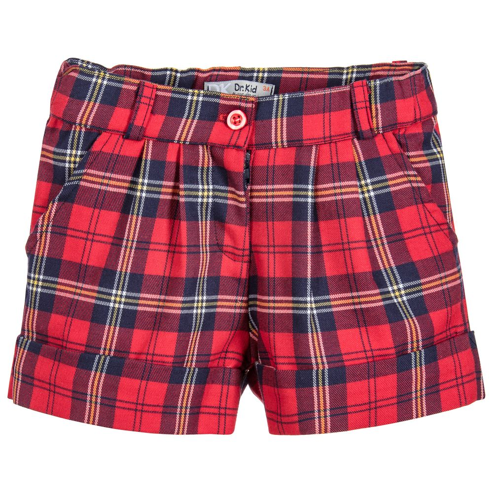 Girls Red Tartan Shorts