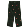 Boys Green Corduroy Embroidered Cord Reindeer Pants